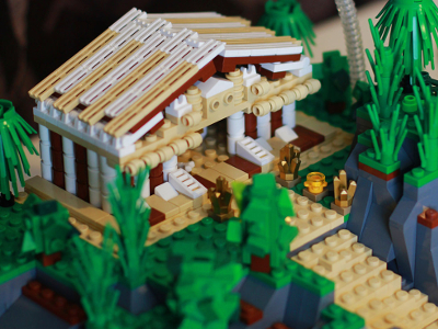 lego temple in a forest